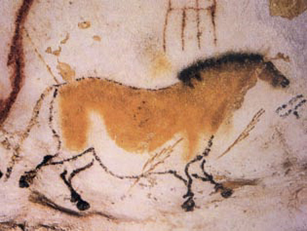 Cave painting of a dun horse, Lascaux, approx BCE 15,300