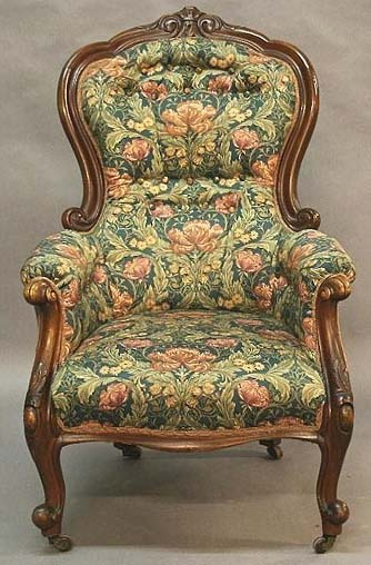 Victorian upholstered spoon-back armchair
