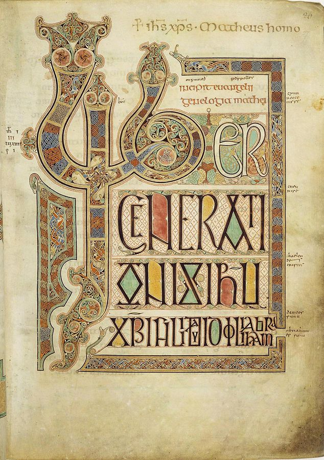 Folio 27r from the 8th-century Lindisfarne Gospels contains the incipit Liber generationis of the Gospel of Matthew.